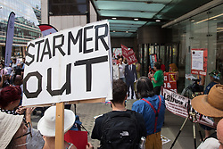 London, UK. 20th July, 2021. Supporters of left-wing Labour Party groups, including some suspended members, attend a protest lobby outside the party's headquarters. The lobby was organised to coincide with a Labour Party National Executive Committee meeting during which it was asked to proscribe four organisations, Resist, Labour Against the Witchhunt, Labour In Exile and Socialist Appeal, members of which could then be automatically expelled from the Labour Party.