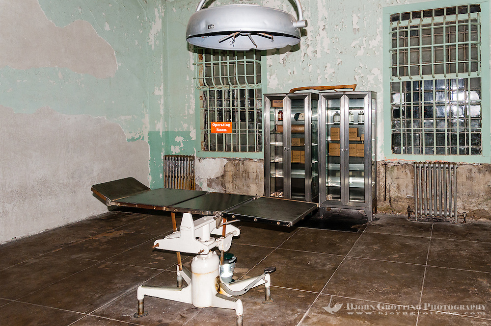 """United States, California, San Francisco. The famous Alcatraz prison island, also known as """"The Rock"""". The hospital."""
