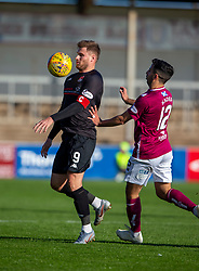Clyde's David Goodwillie and Arbroath's Omar Kader. half time : Arbroath 0 v 1 Clyde, Tunnocks Caramel Wafer Challenge Cup 4th Round, played 12/10/2019 at Arbroath's home ground, Gayfield Park.