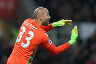 Lee Grant, the Stoke city goalkeeper looks on. Premier league match, Stoke City v Manchester Utd at the Bet365 Stadium in Stoke on Trent, Staffs on Saturday 21st January 2017.<br /> pic by Andrew Orchard, Andrew Orchard sports photography.