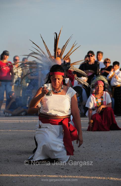 Danza Indigena--Proyecto Cass performs at Dia De San Juan Fiesta at the Santa Cruz River Park, Tucson, Arizona, USA.