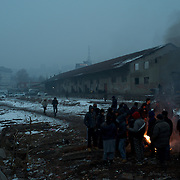 View of one of the old warehouses where the migrants are living, in central Belgrade.