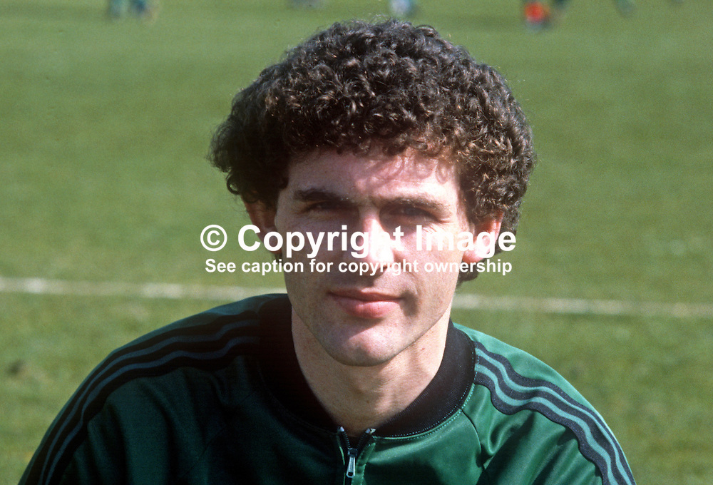 Jim Cleary, Glentoran FC, Belfast, N Ireland, training session, N Ireland tracksuit, March 1982, 198203000060JC<br /> <br /> Copyright Image from Victor Patterson, Belfast, UK<br /> <br /> t: +44 28 9066 1296 (from Rep of Ireland 048 9066 1296)<br /> m: +44 7802 353836<br /> e: victorpattersonbelfast@gmail.com<br /> <br /> www.images4media.com<br /> <br /> Please see my full Terms and Conditions of Use at https://www.images4media.com/p/terms-conditions - it is IMPORTANT that you familiarise yourself with them.<br /> <br /> Images used online incur an additional cost. This cost should be agreed in writing in advance. Online images must be visibly watermarked i.e. © Victor Patterson or that of the named photographer within the body of the image. The original metadata must not be deleted from images used online.<br /> <br /> This image is only available for the use of the download recipient i.e. television station, newspaper, magazine, book publisher, etc, and must not be passed on to a third party. It is also downloaded on condition that each and every usage is notified within 7 days to victorpattersonbelfast@gmail.com.<br /> <br /> The right of Victor Patterson (or the named photographer) to be identified as the author is asserted in accordance with The Copyright Designs And Patents Act (1988). All moral rights are asserted.