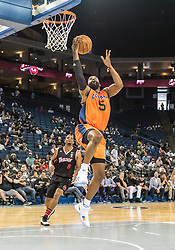 July 6, 2018 - Oakland, CA, U.S. - OAKLAND, CA - JULY 06:Baron Davis (5) co-captain of 3's Company goes for a reverse lay up during game 1 in week three of the BIG3 3-on-3 basketball league on Friday, July 6, 2018 at the Oracle Arena in Oakland, CA  (Photo by Douglas Stringer/Icon Sportswire) (Credit Image: © Douglas Stringer/Icon SMI via ZUMA Press)