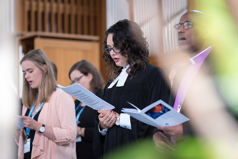 """28 June 2018, Geneva, Switzerland: Opening worship. The 2018 LWF Council meeting takes place in Geneva from 27 June - 2 July. The theme of the Council  is """"Freely you have received, freely give"""" (Matthew 10:8, NIV). The LWF Council meets yearly and is the highest authority of the LWF between assemblies. It consists of the President, the Chairperson of the Finance Committee, and 48 members from LWF member churches in seven regions."""