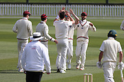 Matt Henry of Canterbury celebrates with team mates after the wicket of Greg Hay of CD. Canterbury vs. Central Districts Day 1, 1st round of the 2021-2022 Plunket Shield cricket competition at Hagley Oval, Christchurch, on Saturday 23rd October 2021.<br /> © Copyright Photo: Martin Hunter/ www.photosport.nz