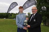 Michael Heeney Chair Connacht Golf presents Robert Walsh JNR (Kinsale) winner of the Connacht Boys Amateur Championship, Oughterard Golf Club, Oughterard, Co. Galway, Ireland. 05/07/2019<br /> Picture: Golffile   Fran Caffrey<br /> <br /> <br /> All photo usage must carry mandatory copyright credit (© Golffile   Fran Caffrey)