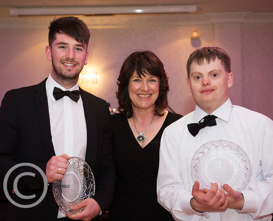 The Ability West Best Buddies Ball at the Menlo Park Hotel, Galway. Students from GMIT and NUIG buddy up with Ability West Service users for friendships that last a lifetime celebrated at this gala ball.<br /> Best Overall match went to The Roy Murphy Memorial award went to David Heaney and Paul Cannon presented by CEO Ability West Breda Crehan Roche .  Photo:Andrew Downes, xposure.