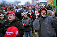 The overflow crowd stands on the street outside a rally with U.S. President Donald Trump in Des Moines, Iowa, U.S., January 30, 2020. REUTERS/Rick Wilking