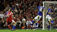 Photo: Paul Thomas.<br /> Liverpool v Cardiff City. Carling Cup. 31/10/2007.<br /> <br /> Nabil El Zhar (L) scores for Liverpool.