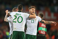 9 October 2017 -  2018 FIFA World Cup Qualifying (Group D) - Wales v Republic of Ireland - Jeff Hendrick and Shane Duffy of Republic of Ireland celebrate as they reach the play-offs - Photo: Marc Atkins/Offside