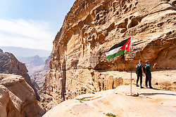 View from footpath leading to Ad-Deir Monastery at Petra in Jordan. UNESCO World Heritage Site