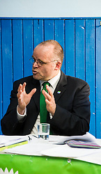 Pictured: Andy Wightman, Local Government Spokesperson<br /> <br /> Patrick Harvie, Co-Convenor of the Scottish Green Party met children at the Enjoy-a-Ball Holiday camp taking place at the North Merchiston Community Centre ahead of Tuesday's TV debate. Mr Harvie was joined by fellow MSP candidates Andy Wightman, Local Government Spokesperson, Maggie Chapman, Co-convener and Alison Johnston candiate for Lothian to present taxation proposals and answer questions.<br /> <br /> Ger Harley   EEm 29 March 2016