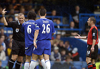 Photo: Javier Garcia/Digitalsport<br /> 23/10/2004 Chelsea v Blackburn, FA Barclays Premiership, Stamford Bridge<br /> Ref Graham Poll turns down Paul Dickov's penalty appeal in a non-orthodox manner