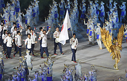 JAKARTA, Aug. 18, 2018  Delegation of Japan enters the Gelora Bung Karno (GBK) Main Stadium at the opening ceremony of the 18th Asian Games in Jakarta, Indonesia, Aug. 18, 2018. (Credit Image: © Pan Yulong/Xinhua via ZUMA Wire)