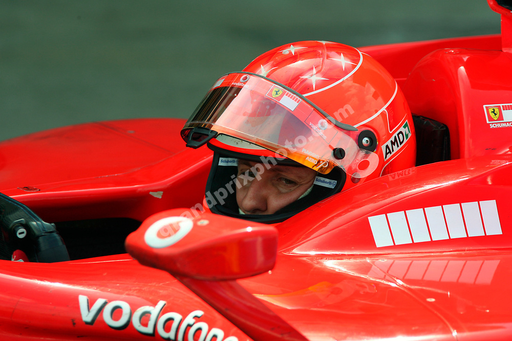 A dissapointed Michael Schumacher after finishing second in the 2006 British Grand Prix at Silverstone. Photo: Grand Prix Photo