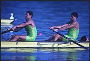 Banyoles, SPAIN, BRA M2+, Carlos ALMEIDA BUCKTON,  Claudio MELLO TAVARES and cox, Carlos SOBRINHO, competing in the 1992 Olympic Regatta, Lake Banyoles, Barcelona, SPAIN. 92 Gold Medalist.   [Mandatory Credit: Peter Spurrier: Intersport Images]