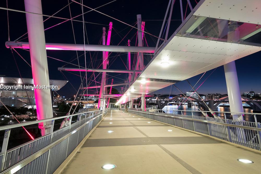 Modern Kurilpa bridge which is a footbridge crossing the Brisbane River in Brisbane Queensland Australia