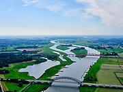 Nederland, Overijssel, Gemeente Zwolle, 21–06-2020; IJssel bij Zwolle, IJsselbrug Hattem brug voor het wegverkeer. De tweede brug is de spoorbrug van de Hanzelijn, de  Hanzeboog.<br /> IJssel near Zwolle, IJssel bridge, Hattem bridge for road traffic. The second bridge is the railway bridge of the Hanze line, the Hanzeboog.<br /> luchtfoto (toeslag op standaard tarieven);<br /> aerial photo (additional fee required)<br /> copyright © 2020 foto/photo Siebe Swart