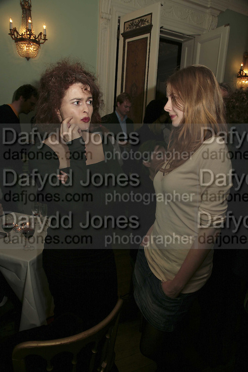 HELENA BONHAM-CARTER AND RACHEL HURD-WOOD, PARTY AT DARTMOUTH HOUSE AFTER A PREMIERE SCREENING OF PERFUME AT THE CURZON. LONDON.<br />5 December 2006. ONE TIME USE ONLY - DO NOT ARCHIVE  © Copyright Photograph by Dafydd Jones 248 CLAPHAM PARK RD. LONDON SW90PZ.  Tel 020 7733 0108 www.dafjones.com