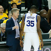 04 June 2017: Golden State Warriors head coach Steve Kerr talks to Golden State Warriors forward Kevin Durant (35) during the Golden State Warriors 132-113 victory over the Cleveland Cavaliers, in game 2 of the 2017 NBA Finals, at the Oracle Arena, Oakland, California, USA.