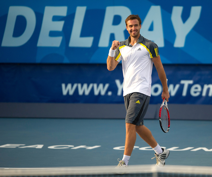 Ernests Gulbis (LAT) celebrates his victory over Edouard Roger-Vasselin (FRA) in their Final match today - Ernests Gulbis (LAT) def Edouard Roger-Vasselin (FRA) 7-6(3) 6-3..ATP 250 Tennis - 2012 Delray Beach International Tennis Championships - Day 7 -  Sunday 3rd March 2013 - Delray Beach Stadium & Tennis Center - Delray Beach - Florida - USA..© CameraSport - 43 Linden Ave. Countesthorpe. Leicester. England. LE8 5PG - Tel: +44 (0) 116 277 4147 - admin@camerasport.com - www.camerasport.com