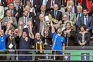 Morpeth Town lift the FA Vase at the end of the FA Vase match between Hereford and Morpeth Town at Wembley Stadium, London, England on 22 May 2016. Photo by Mark Doherty.