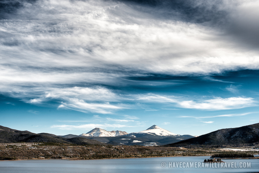 A view of the snow-capped Rocky Mountains behind the Dillon Reservoir at Wildernest, Colorado, not far from Denver.