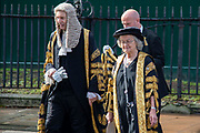 Lady Hale, President of the Supreme Court walks to the Palace of Westminster following the annual Judges Service which marks the start of the new legal year at Westminster Abbey in London, United Kingdom on 1st October 2019.