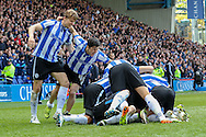 Sheffield Wednesday striker Fernando Forestieri (45) and players celebrate 2-0 during the Sky Bet Championship match between Sheffield Wednesday and Cardiff City at Hillsborough, Sheffield, England on 30 April 2016. Photo by Ellie Hoad.