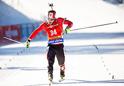 Macx Davies (CAN) dancing at finish line during Men 12,5 km Pursuit at day 3 of IBU Biathlon World Cup 2015/16 Pokljuka, on December 19, 2015 in Rudno polje, Pokljuka, Slovenia. Photo by Vid Ponikvar / Sportida