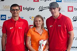 Mateja Vodiskar, Anze Kopitar and Matjaz Rakovec at Anze's Eleven and Triglav Charity Golf Tournament, on June 30, 2012 in Golf court Bled, Slovenia. (Photo by Matic Klansek Velej / Sportida)