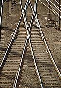 Railroad tracks interchange in Hamburg, Germany