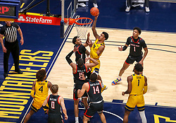 Jan 25, 2021; Morgantown, West Virginia, USA; West Virginia Mountaineers forward Jalen Bridges (2) shoots in the lane during the second half against the Texas Tech Red Raiders at WVU Coliseum. Mandatory Credit: Ben Queen-USA TODAY Sports