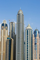 Skyline of skyscrapers in Dubai United Arab Emirates