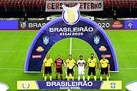 SAO PAULO, BRAZIL - FEBRUARY 25: Captains Diego of CR Flamengo and Dani Alves of Sao Paulo FC póse with Referees ,during a Brasileirao Serie A 2020 match between Sao Paulo FC and CR Flamengo at Morumbi Stadium on February 25, 2021 in Sao Paulo, Brazil. <br />  (Photo by MB Media/BPA)