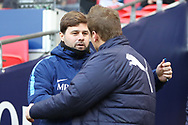Tottenham Hotspur Manager Mauricio Pochettino and AFC Wimbledon manager Neal Ardley shaking hands during the The FA Cup 3rd round match between Tottenham Hotspur and AFC Wimbledon at Wembley Stadium, London, England on 7 January 2018. Photo by Matthew Redman.