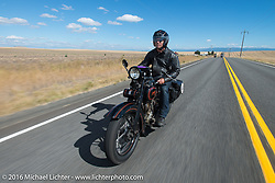 Licenced Harley-Davidson artist Scott Jacobs riding his 1926 Harley-Davidson JD during Stage 14 - (284 miles) of the Motorcycle Cannonball Cross-Country Endurance Run, which on this day ran from Meridian to Lewiston, Idaho, USA. Friday, September 19, 2014.  Photography ©2014 Michael Lichter.