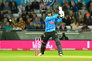 Michael Burgess of Sussex plays an attacking shot during the final of the Vitality T20 Finals Day 2018 match between Worcestershire Rapids and Sussex Sharks at Edgbaston, Birmingham, United Kingdom on 15 September 2018.