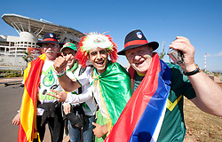 Slovenia and Algeria fans arrive ahead for the Group C first round 2010 FIFA World Cup South Africa match between Algeria and Slovenia at Peter Mokaba Stadium on June 13, 2010 in Polokwane, South Africa.  (Photo by Vid Ponikvar / Sportida)