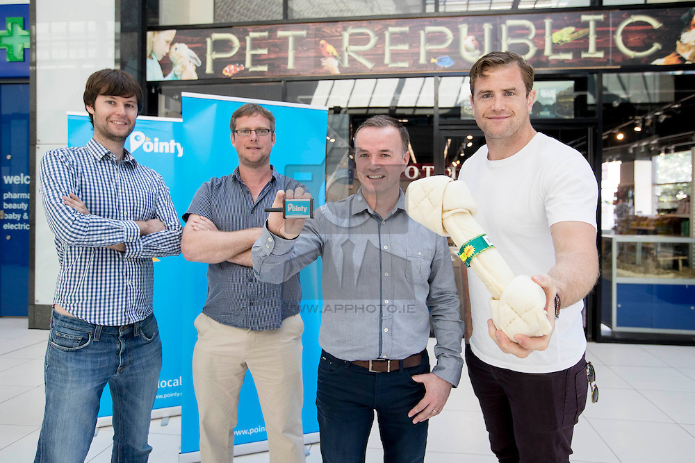 Repro Free: Business savvy Jamie Heaslip has invested in an Irish app that's helped over 150,000 people find products in local shops. This week, Brian Stenson owner of Pet Republic in Finglas received a surprise visit from Jamie as he tested the Pointy app to go shopping for his dog JayZ. Mark Cummins and Charles Bibby Co Founders of Pointy are pictured with Brian Stenson owner Pet Republic and Jamie Heaslip. Picture Andres Poveda