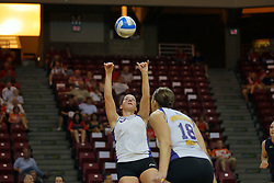 06 October 2007:  Kristin Belzung sets the ball for Danielle Brazda. The Illinois State Redbirds pulled out a photo finish in a match that saw the 4th and 5th games extend into extra point play. Northern Iowa Panthers visited the Illinois State Redbirds at Redbird Arena on the campus of Illinois State University in Normal Illinois.