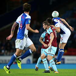 Burnley's Chris Wood challenges Elliott Ward of Blackburn Rovers - Mandatory by-line: Matt McNulty/JMP - 23/08/2017 - FOOTBALL - Ewood Park - Blackburn, England - Blackburn Rovers v Burnley - Carabao Cup - Second Round
