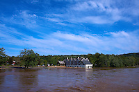 Lambertville Inn from the Lambertville New Hope Bridge. Delaware River at Near Flood Stage after Hurricane Irene. Image taken with a Nikon D700 and 28-300 mm VR lens (ISO 200, 28 mm, f/8, 1/1000 sec). Raw image processed with Capture One Pro 6, Nik Define 2, and Photoshop CS5.