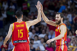 September 17, 2018 - Madrid, Spain - Joan Sastre and Sergio Rodriguez of Spain during the FIBA Basketball World Cup Qualifier match Spain against Latvia at Wizink Center in Madrid, Spain. September 17, 2018. (Credit Image: © Coolmedia/NurPhoto/ZUMA Press)
