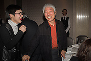 JESUN MOON; LEE UFAN, Anish Kapoor and Lee Ufan preview dinner hosted by the Lisson Gallery after the opening on Bell St. The Connaught. London. 23 March 2015