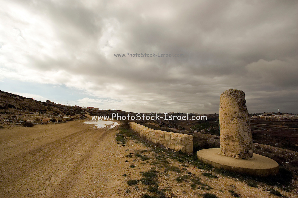 A roman mile stone on the ancient roman road from Jerusalem to Hebron, situated in the Judean Hills between Jerusalem and Hebron, about 20 kms south of Jerusalem. On the route followed by our patriarchs Abraham, Issac and Jacob as mentioned in the book of Genesis. King David lived and fought in this area and Elazar the Maccabee fell in battle in the valley
