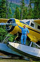 Pilot Steve Ingram with 1943 Noorduyn Norseman Float Plane, Cooper Landing, Alaska USA