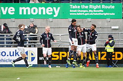 Falkirk's Aaron Muirhead (4) celebrates after scoring their second goal. Falkirk 3 v 0 Dundee United, Scottish Championship game played 11/2/2017 at The Falkirk Stadium.
