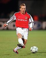 Arsenal captain Lee Dixon. Shakhtar Donetsk 3:0 Arsenal, UEFA Champions League, Group B, Centralny Stadium, Donetsk, Ukraine, 7/11/2000. Credit Colorsport / Stuart MacFarlane.